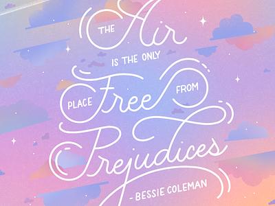 Free from Prejudice black history month bessie coleman procreate illustration hand lettering design