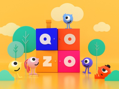 Qozo 3d illustration branding design app design branding cinema 4d c4d illustration