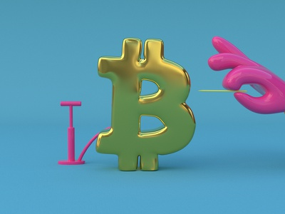 Bitcoin toy illustration design cinema 4d c4d whale bitcoinblue burst bitcoin
