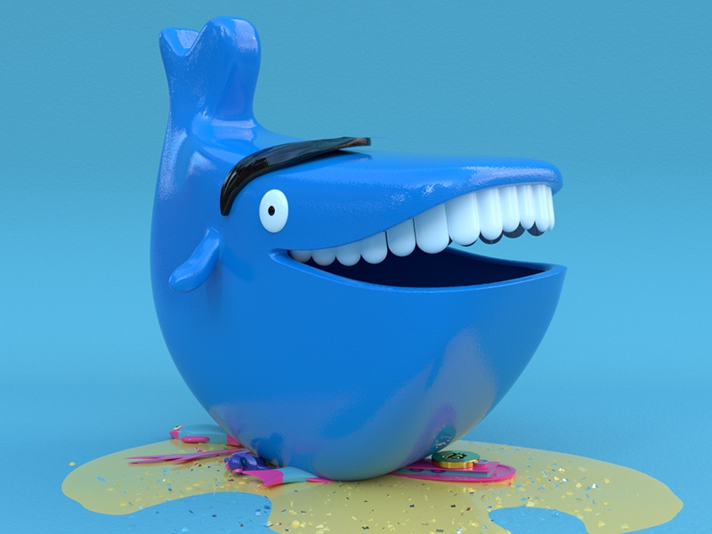 Whale - Big Blue toy illustration design cinema 4d c4d blue bitcoin whale