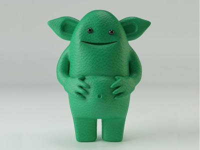 Green Dan monster 3d toy c4d illustration design