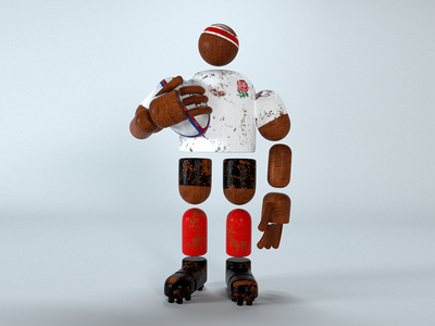 Rugby Man worldcup england toy wood cinema4d redshift rugby