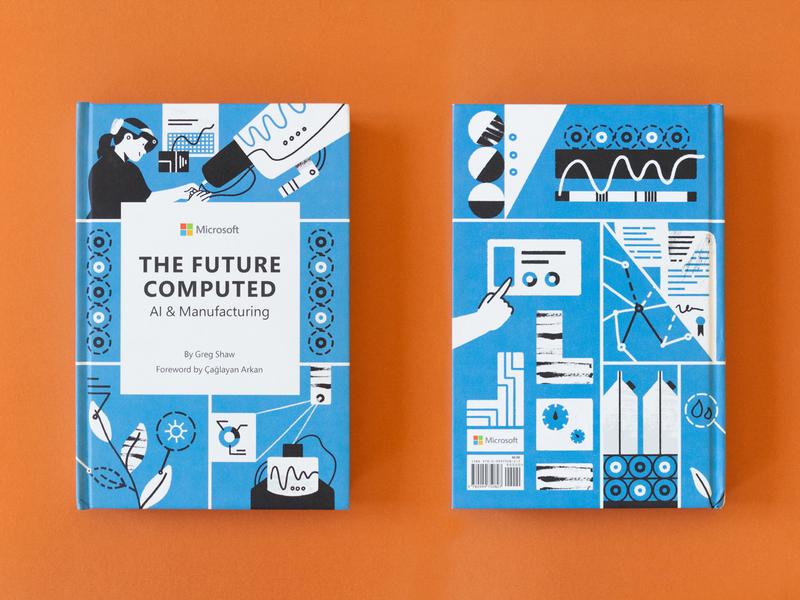 The Future Computed: AI and Manufacturing | Book Illustrations minimalist illustration illustrator graphicdesign editorial illustration book cover print book illustration