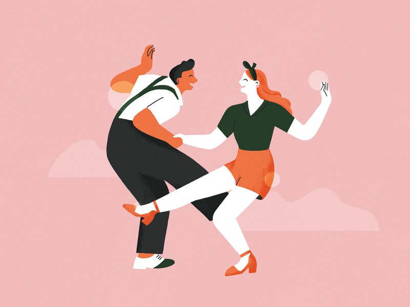 Swing Dancers ✨ textured illustration characters girl womans woman couple dance illustration dancing dancers editorial character illustration