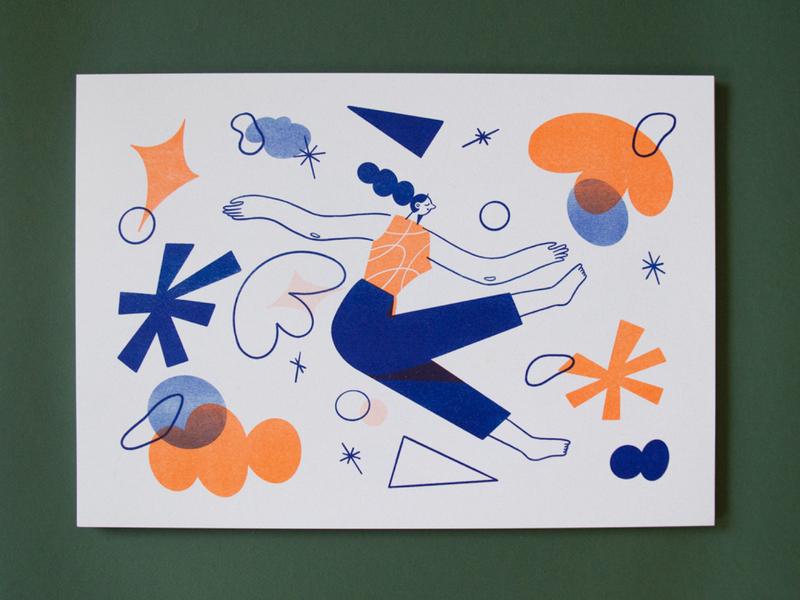 'Falling' Risoprints wonderland daydreaming dreams whimsical girl woman abstract digital illustration poster prints illustration risoprints risograph