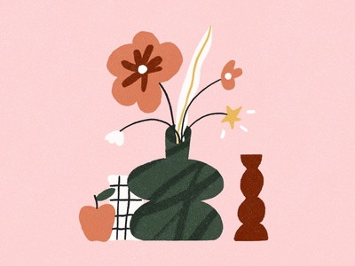 Funky Stilllife 🌟 illustration style textured illustration patterns 2d illustrator illustraion stilllife vase plants flowers