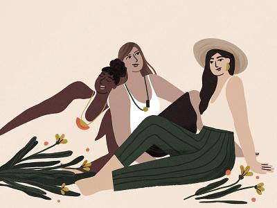 Chillin' ✨ illustration illustrator pastels procreate 2d textured summer woman characters women in illustration boho girl women