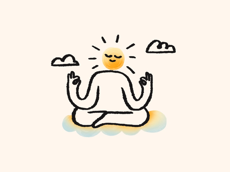 Morning meditations 🌞 spot illustration illustrator brushy calm clouds sun product illustration sketchapp sketchy handdrawn character meditation