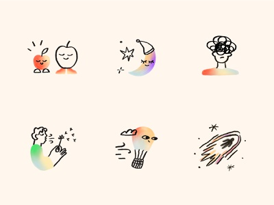 Evolum spot illustrations ✨ quirky 2d self discovery stress sleep spot gradient brush sketchy style course meditation app product illustration illustrator character illustration