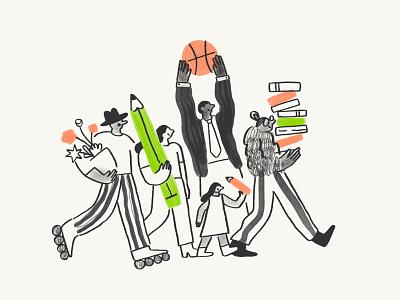 Nextdoor Illustration Exploration groups hobby neighbours illustration style brushes photoshop illustrator style exploration nextdoor product illustration character illustration