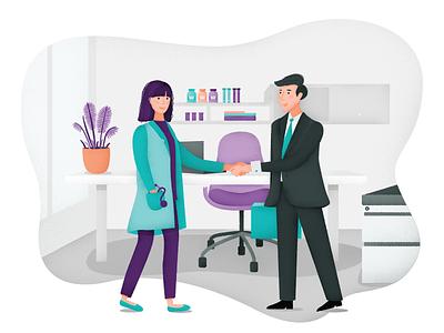 Marketing tool for Healthcare | Website illustration doctors office illustrator texture illustration character man woman marketing healthcare medical doctors