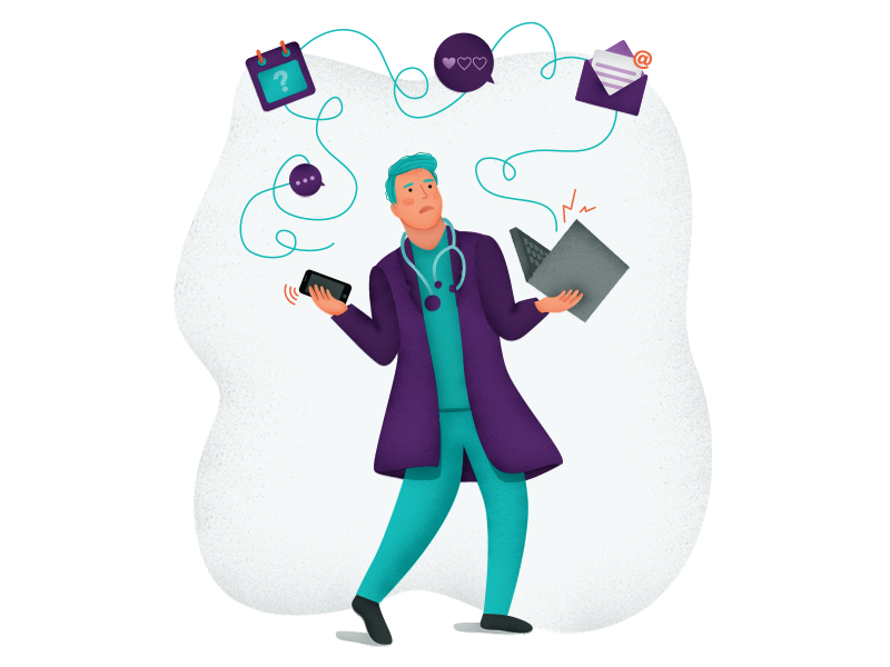 Distractions distractions illustrator character medic healthcare doctor illustration chaos