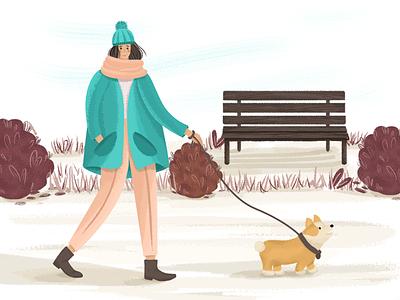 Corgi in the park big coat cold plants bench autumn character girl corgi dog park walk illustration