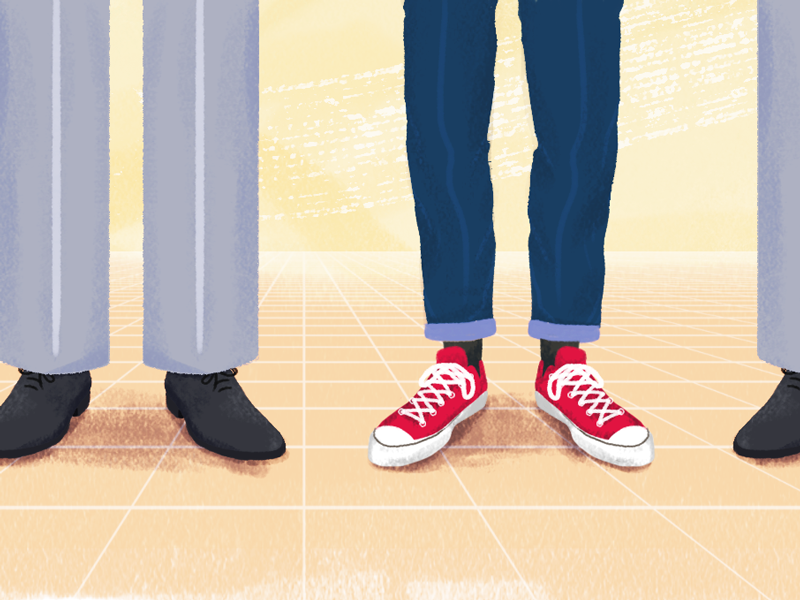 Culture fit vs. Culture add | Blog post cover illustration article blog pastels shoes converse company people perspective culture fit