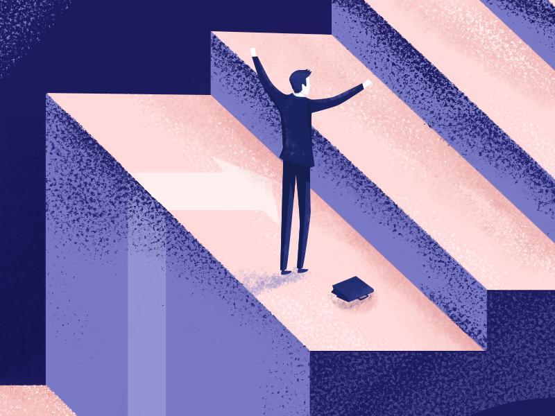 Success illustration struggle man success work career illustrator hardwork textured illustration