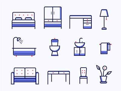 Furniture Store Icon set illustration toilet bath chair table sofa bed bedroom livingroom bathroom furniture icons