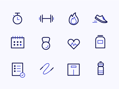 Fitness Icon Set fitness app stroke icons excercise calories set icons healthy fitness