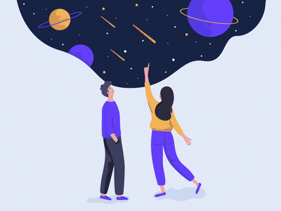 Cosmic Sneak Peek character flat illustration boy girl couple romantic stars space cosmos