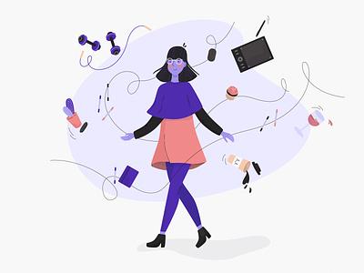 Creative chaos lover international womens day character illustration illustrator designer chaos creative girl women