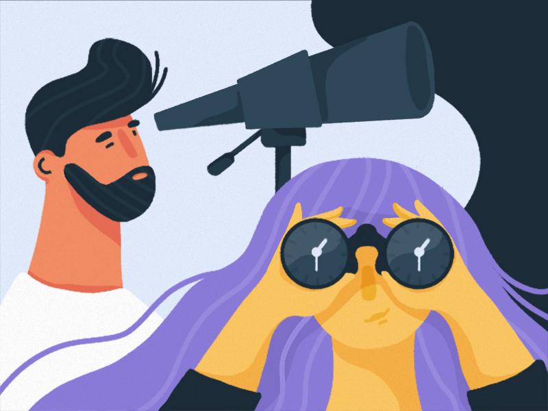 Job Seekers job seeker searching looking telescope man girl illustrator illustration binoculars