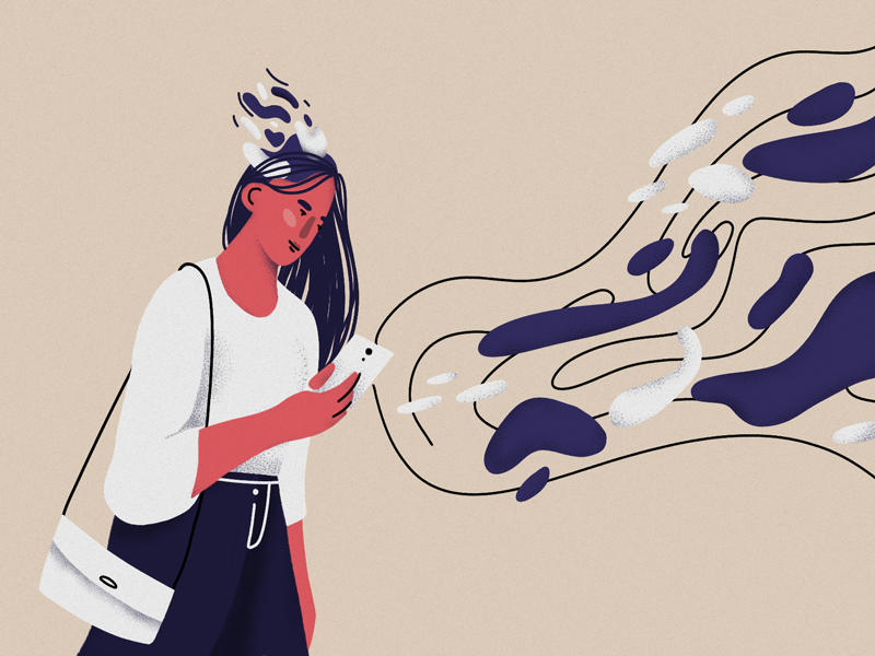 Better to forget information overload brain media phone abstract news girl illustration