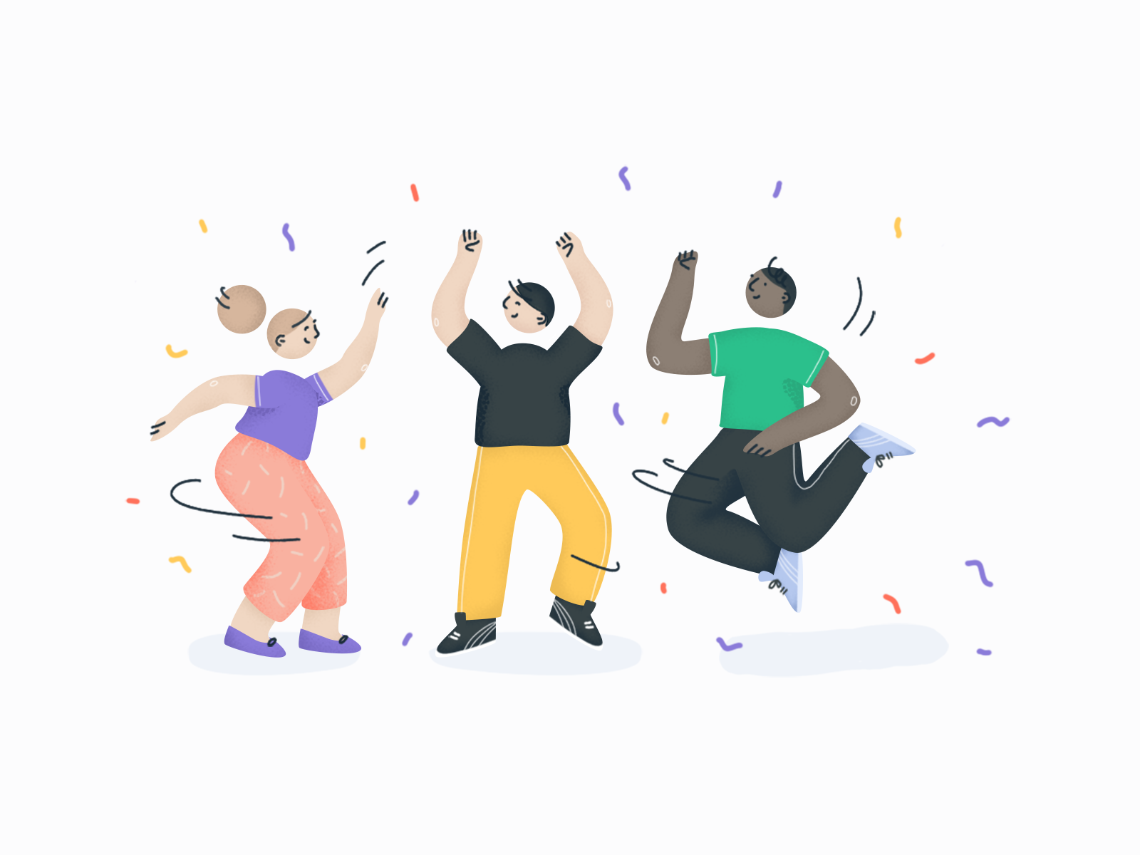 You've made it! Now share the good news 👊 new job celebrate dance party man woman career success character illustration