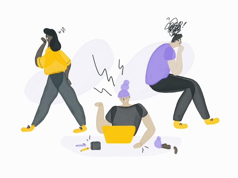 Unhappy at work? man woman angry bored anxiety work editorial career character illustration