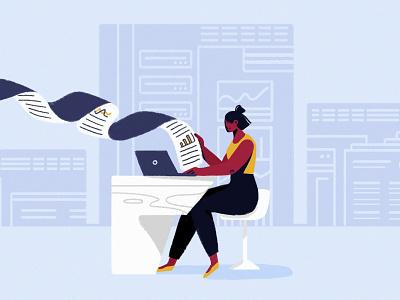 Data Analyst marketing data analysis data career girl editorial character woman illustration