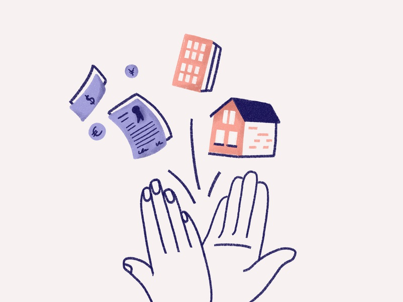 Deal! website illustration landing page illustration deal pastel hero illustration high five hands house real estate illustration