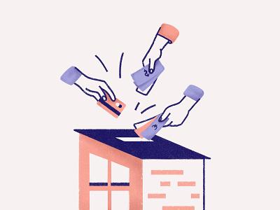 Crowdfunding funding money house landing page website illustration crowd funding crowdfunding real estate illustration