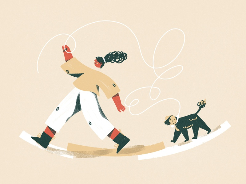 Time for a walk product illustration positive walk woman girl editorial illustration character dog illustration