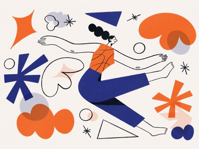 Falling ✨ illustrators sleeping abstract dreaming falling print editorial woman character illustration