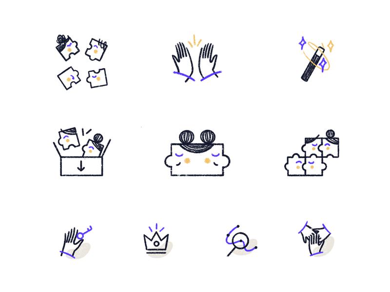Folk App Spot Illustrations line icons stroke illustrations handdrawn illustration style networking contact management marketing website brand illustrations illustrated icons spot illustrations illustration