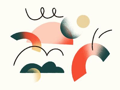 Style Exploration for Wintegreat marketing illustrations ngo grain texture surrealist abstract illustration illustration style color palette texture illustration abstract whimsical