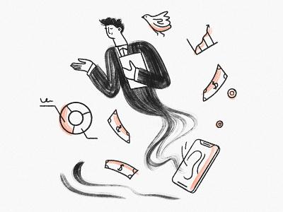 Financial Advisor genie illustration genie businesscard hand drawn illustration process finance illustration banking illustration banking app financial advisor finance man character illustration