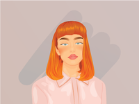Face Illustration Art Orange Hair
