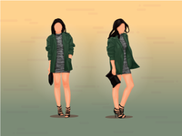 Dress And Parka Illustration Full Body