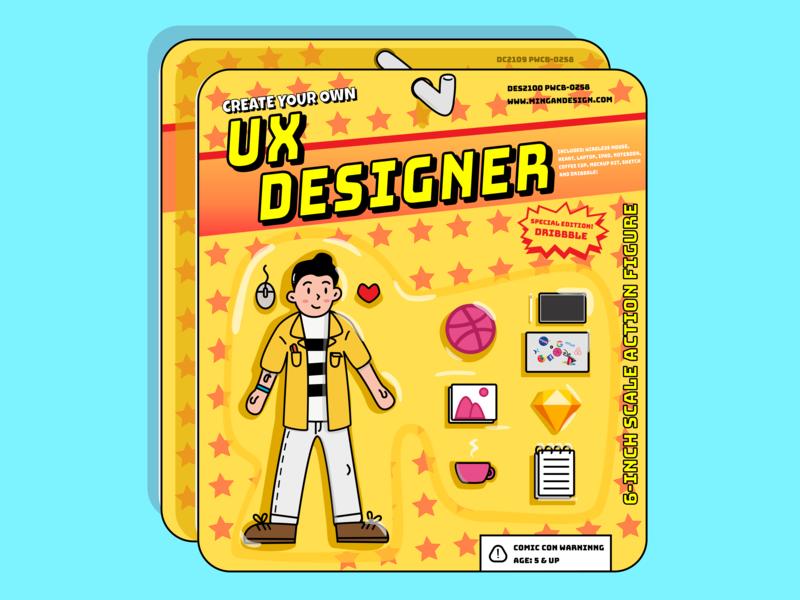 UX Designer Toy from 80's ux designer kit 80s style type ui illustrator minimal flat branding web first debut typography toy design toy fun logo design ux illustration
