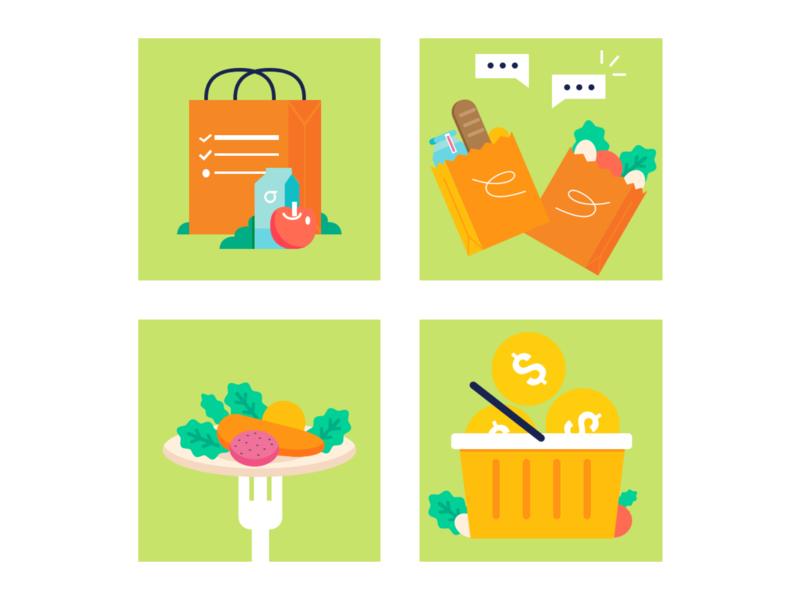 Icon Set save food grocery grocery app minimal icon app ux simple logo vector ux designer illustrator branding ui illustration flat design
