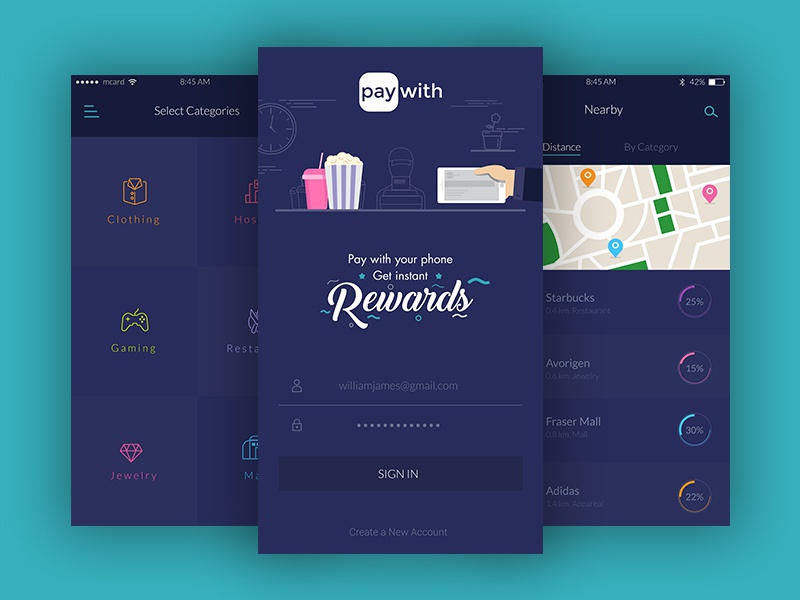 PayWith iOS app re-design map login with pay rewards app mobile ux ui ios