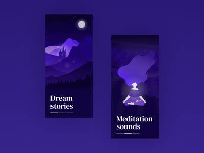 DAILY UI 023 - ONBOARDING daily23 poetry dreams podcast meditation app purple landscape castle dream meditation dailyuichallenge dailyui23 app illustration app design ui design daily ui dailyui ui design