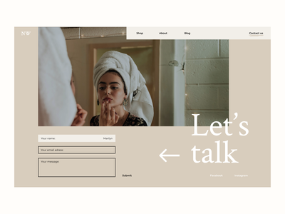 DAILY UI 028 - CONTACT US contact us page dailyui 028 ui  ux design cosmetics neutral colors website dailyui28 contact page contact form contact us desktop branding and identity branding ui ux ux ui design daily ui dailyui ui design