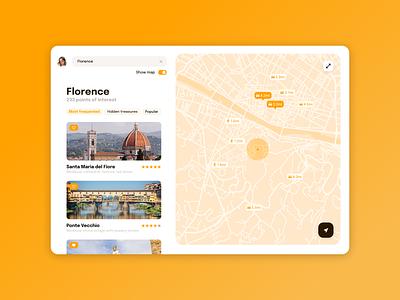 DAILY UI 029 - MAP monochrome clean ui daily ui challenge tablet ipad app maps points of interest travel app orange travel map app ui ux app design ui design daily ui dailyui ui design