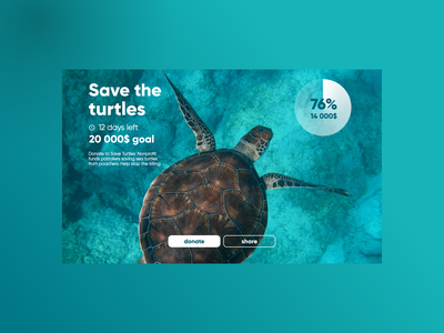DAILY UI 032 - CROWDFUNDING CAMPAIGN webdesign website donation app clean save crowdfund daily ui 32 daily ui 032 donation sea turtles donate crowdfunding campaign crowdfunding ui design daily ui dailyui ui design