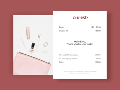 DAILY UI 017 - EMAIL RECEIPT daily clean email marketing mail design orders mail email receipt thanks ui ux receipts order cosmetics email design email receipt ui design ui daily ui dailyui design