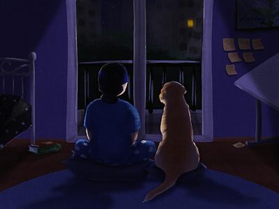Home dog illustration dogs dark lighting digital illustration room dog girl drawing illustration