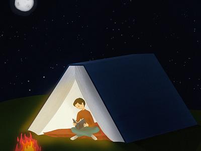 Camping camping reading book digital illustration digital art digital illustration