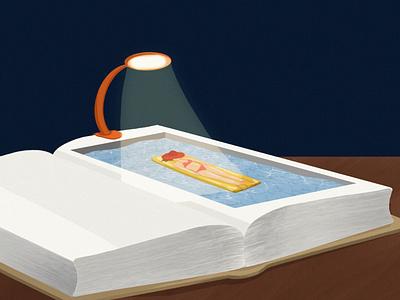 Tanning light pool reading book digital illustration digital art illustration