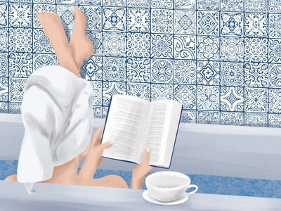 Self-care reading book pattern tile bathroom illustration art digital art digital illustration digital illustration