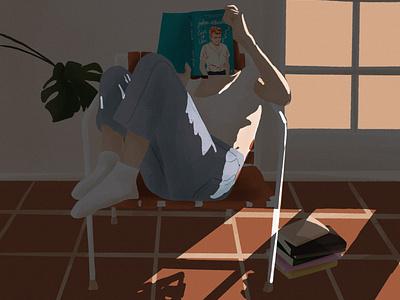 Afternoon reading illustration art digital illustration reading book plant light digital art digital illustration